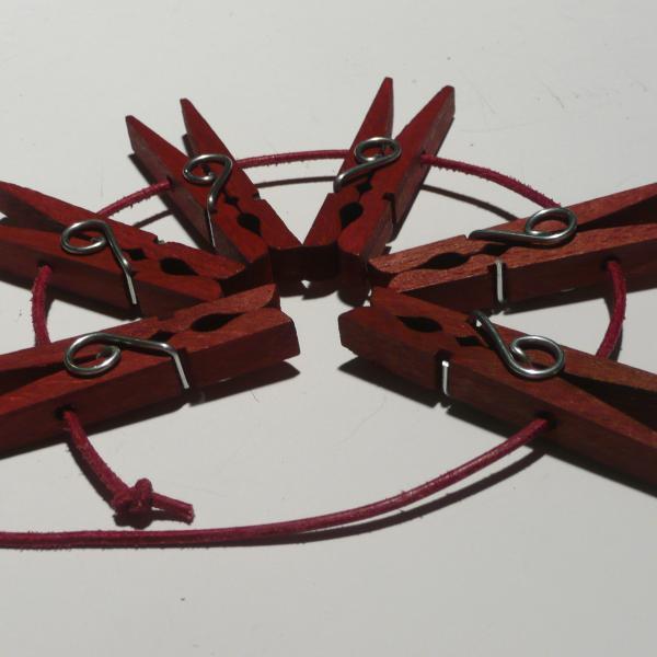 Holzklammern, rot, 6er-Set
