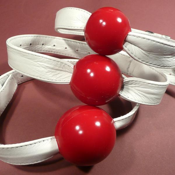 Silikon-Ballknebel, rot (mit weißem Riemen)