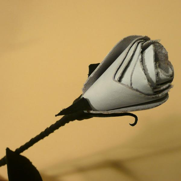 Leder-Rose, schwarz/weiß