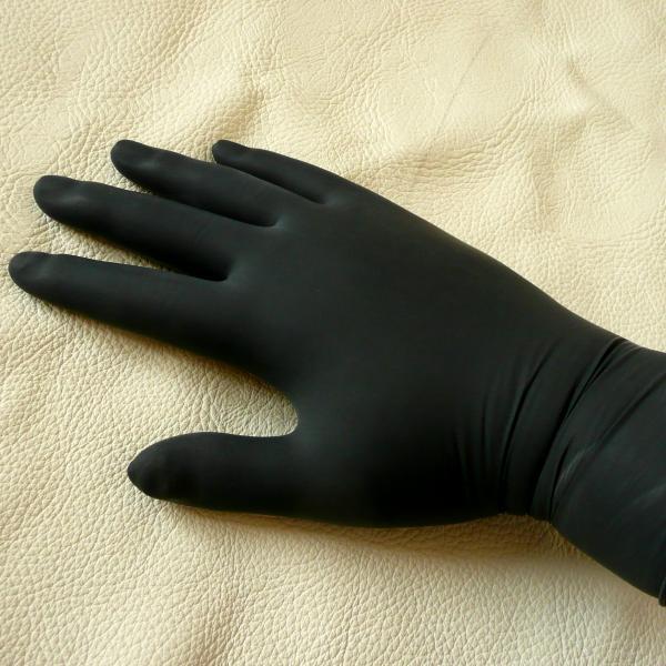 Latex-Untersuchungshandschuhe schwarz, 100 Stück