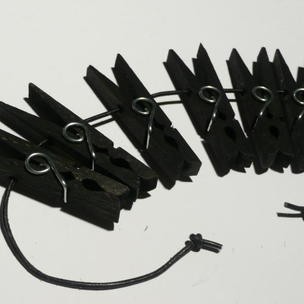 Holzklammern, 6er-Set, schwarz