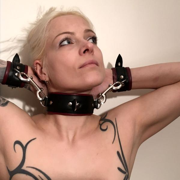 Halsfessel mit 3 D-Ringen, schwarz/bordeaux