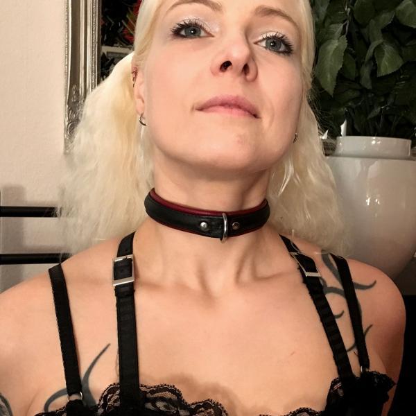 schmales Sklaven-Halsband, schwarz/bordeaux
