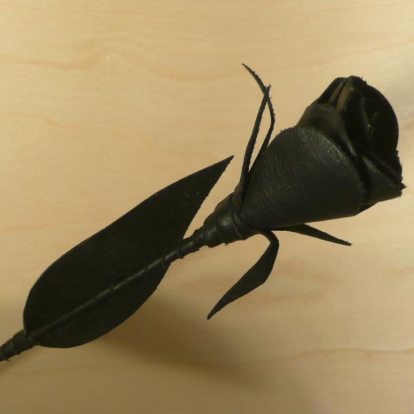 Leder-Rose, schwarz