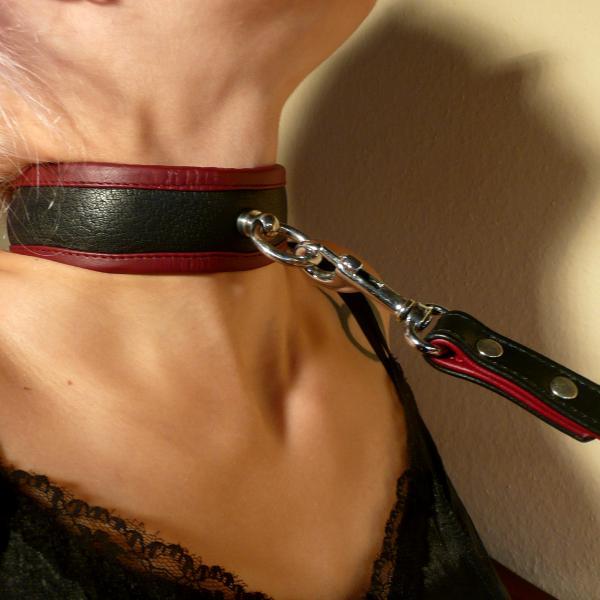"""""""Wotan"""" - Halsband abschließbar, schwarz/bordeaux"""